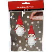 Mini kit creativo, Elfe di Natale, H: 8 cm, 1 set