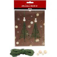 Mini kit creativo, albero di Natale in macramè, H: 11 cm, 2 pz/ 1 set