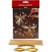 Mini kit creativo, angelo di paglia, H: 8 cm, 1 set