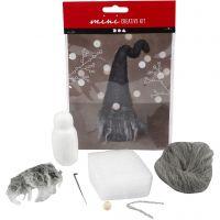 Mini kit creativo, Gnomo di Natale, H: 13 cm, misto grigio, 1 set