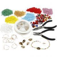 Kit – Creazione di gioielli con perline rocaille, placcato oro, 1 set
