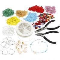 Kit – Creazione di gioielli con perline rocaille, placcato argento, 1 set