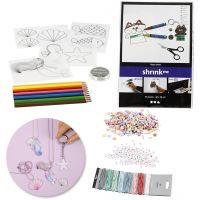 Kit – Creazione di gioielli con perline e fogli di plastica termoretraibile, 1 set