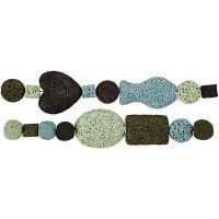 Assortimento perle luxury, diam: 6-37 mm, misura buco 2 mm, armonia blu/verde, 1 set