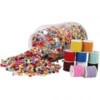 Vaschetta di perline in plastica & cordino elastico, 1 set