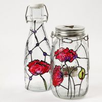 Glass Bottle and Lantern decorated in the Tiffany Style