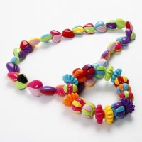 A Bracelet and a Necklace with two-piece Beads