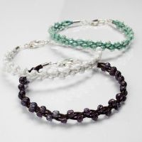 Plaited Leather Bracelets decorated with Rocaille Seed Beads