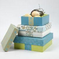 Scatole di cartapesta con carta fatta a mano