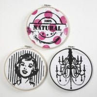Screen Stencil Prints in Embroidery Frames