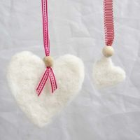 Felted Woollen Hearts with a Ribbon