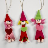 Pixies made from Silk Clay and Pipe Cleaners with Felt Dresses