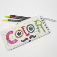 A Pencil Case decorated with Textile Markers