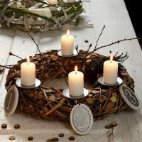 An Advent Wreath with Tassels and Metal Tags with Numbers