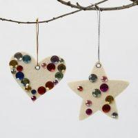 White Felt Christmas Hanging Decorations with Rhinestones