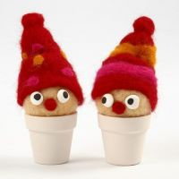 Needle felted Pixies in Pots