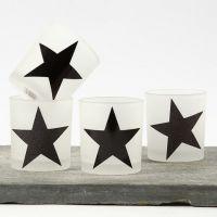 Portacandele con stelle di carta decorata