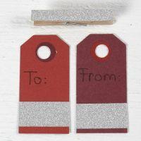 Etichette manila decorate con nastro adesivo glitterato
