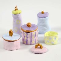 Self-hardening Clay Pots & Lids, painted in pastel Colours & Gold