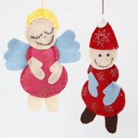 Angelo e Babbo Natale in feltro con glitter