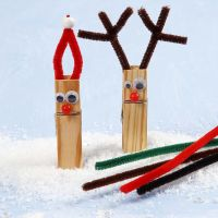 A Reindeer and a Pixie made from mini Clothes Pegs