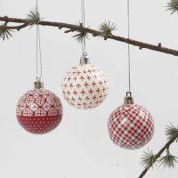 Palla di Natale con decoupage bianco e rosso