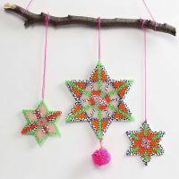 Nabbi Fuse Bead Stars decorated with Pom-poms