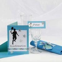 Invito turchese e decorazioni da tavolo per un Confirmation Party
