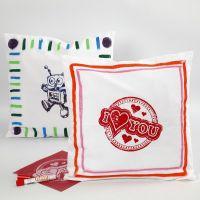 Fodera di cuscino decorata con colore in stick per stoffa