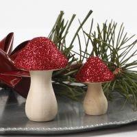 Fungo in legno decorato con glitter