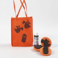Una borsa arancione per Halloween decorata con stampe fantasia