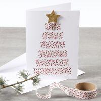 Biglietto natalizio con albero di Natale realizzato in Masking Tape