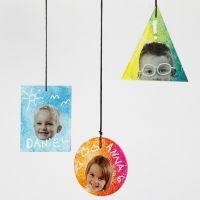 Decorazioni pendenti piatte in vetro decorate con stampe, testi e grafiche