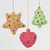 Decorazioni natalizie in polistirolo ricoperto da Foam Clay e impreziosito con brillantini
