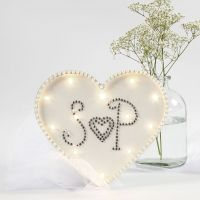Light Box a forma di cuore decorata con brillantini e mezze perle