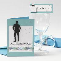Invito e decorazioni da tavola per la Cresima di un ragazzo