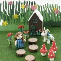 Casetta delle fate con unicorno in Foam Clay