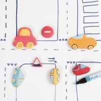 Auto e segnali stradali in argilla auto-indurente