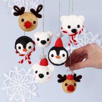 Palline natalizie a forma di animali polari in Foam Clay e Silk Clay