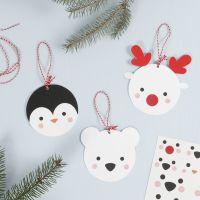 Decorazioni pendenti in cartoncino con animali polari