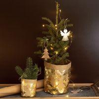 Vaso da fiori ricoperto di carta in finta pelle decorata con fantasie natalizie