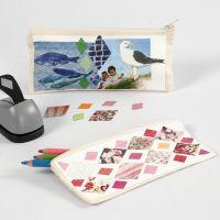 Un astuccio decorato con collage stampato