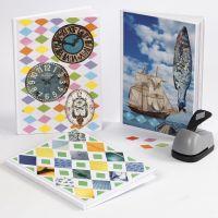 Un libro con un collage ottenuto da carta Color Bar e riviste
