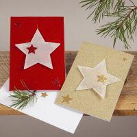 Biglietti natalizi glitter con stelle da appendere in carta pergamena