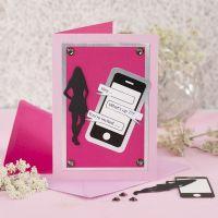 Invito per la cresima con telefono cellulare e silhouette in cartoncino