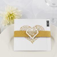 Menù nuziale con carta fantasia dorata glitter e shaker sticker