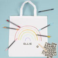 Shopping Bag decorata con pennarelli per stoffa e stickers da strofinare