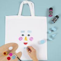 Shopping Bag con stampa a timbri a forma di viso