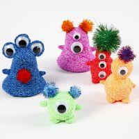Alieni di Foam Clay con occhietti mobili e pom-poms