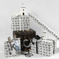 Confezione regalo bianca e nera con fari e lucine